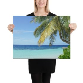 Island Beach with Palm Tree Canvas 24″ x 18″ x 1.5″